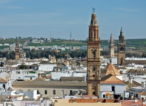Vista panorámica parcial con campanarios. Campiña de Sevilla.